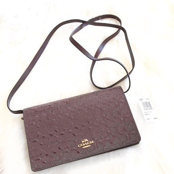Cross Body Bags - Pebbled Leather Foldover Crossbody Bag Oxblood - brown - Cross Body Bags for ladies Coach HU484P0